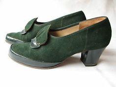 Gorgeous Vintage 1940s Green Suede Shoes Heels Original Box Size 4 Delta Lotus