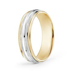 Brushed-Finish-Carved-Wedding-Band-in-Two-Tone