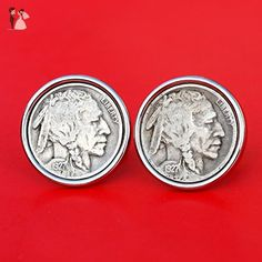 US 1927 Indian Head Buffalo Nickel Coin Silver Plated Cufflinks NEW - Groom cufflinks and tie clips (*Amazon Partner-Link)