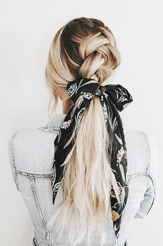 # big Braids styles # how to do a big Braids Big Braid Styles, Long Hair Styles, Organizing Hair Accessories, Women's Accessories, Scarf Hairstyles, Pretty Hairstyles, Big Braids, Hair Toppers, Hair Ribbons