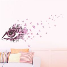 Charming Fairy Girl Eye Wall Decal With Butterflies