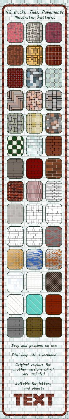42 Bricks - Tiles - Pavements Seamless Adobe Illustrator Patterns  #illustrator #adobe #GraphicDesign #vector #BestDesignResources