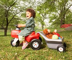 Making Tracks            	Toddlers can put this Little Tikes Classic Toddler Tractor and Cart to work, using it to haul favorite toys (18 months to 3 years, $50).