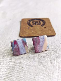 FREE SHIPPING Check out our new range of handmade jewellery at 99 Farm Gift Shop Handmade Polymer Clay, Polymer Clay Jewelry, Square Earrings, Stud Earrings, Handmade Jewellery, Handmade Gifts, Jewelry Ideas, Unique Jewelry, Etsy Seller