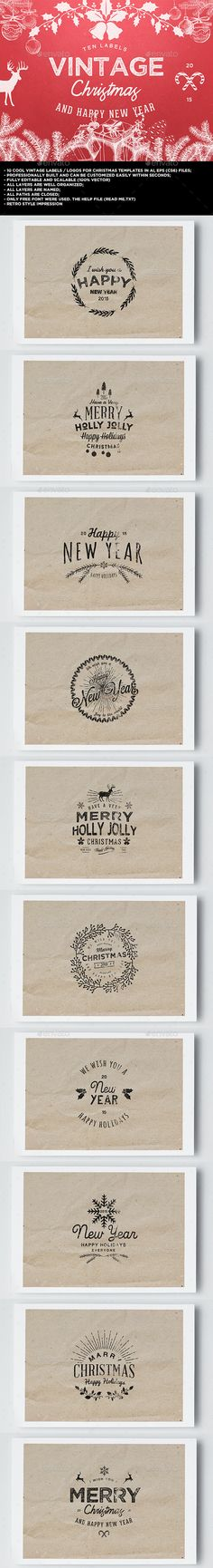 10 Logo Vintage Christmas / New Year - Badges & Stickers Web Elements