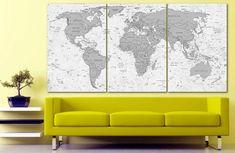 World map canvas World map decor Large world map Travel art Push pin map canvas Extra large wall art Travel poster Push pin canvas World map Large Canvas Art, Canvas Frame, Canvas Art Prints, World Map Travel, Kids World Map, Travel Wall Decor, World Map Decor, Gaming Wall Art, World Map Canvas