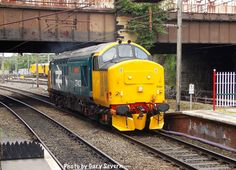 ' Class 37 403 arrives at Preston station to recover the stock from the failed am Preston to Barrow-in-Furness service Electric Locomotive, Diesel Locomotive, Barrow In Furness, Train Room, British Rail, Trains, Diesel Engine, North West, Graham