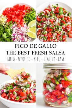 Fresh Pico de Gallo is the perfect salsa for any appetizer or topping the bright and bold flavors pair perfectly with all of your favorite meals. Paleo Recipes, Mexican Food Recipes, Whole Food Recipes, Cooking Recipes, Ethnic Recipes, Paleo Meals, Mexican Dishes, Clean Eating Snacks, Healthy Snacks