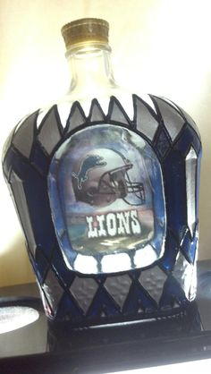 Detroit Lions Football Crown Royal bottle Hand by PattiesPassion, $68.88