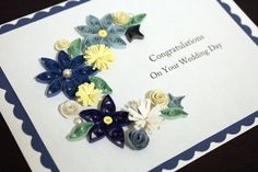 Wedding card with paper quilled flowers