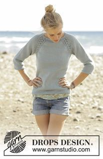 Wind Down - Knitted jumper with raglan and lace pattern, worked top down in DROPS Merino Extra Fine. Sizes S - XXXL. - Free pattern by DROPS Design