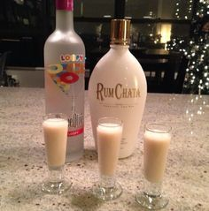 Fruit Loops Shot: 2 parts Rumchata, 1 part Three Olives Loopy Vodka -Place into a coctail shaker with ice, and shake until combined and chilled -Pour into shot glass