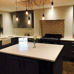 Mrs Nye's Kitchen with Bianco Marmo Suprema - Letchworth - Rock and Co Granite Ltd Kitchen Ceiling Lights, Kitchen Pendant Lighting, Kitchen Pendants, Country Kitchen Island, French Country Kitchens, Kitchen Sale, Cool Kitchens, Home Lighting, Track Lighting