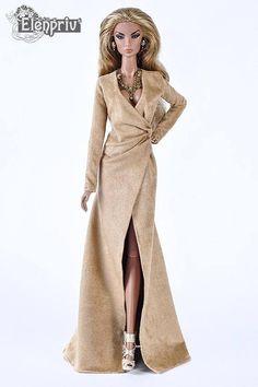 ELENPRIV sand color ultrasuede dress for Fashion royalty FR2