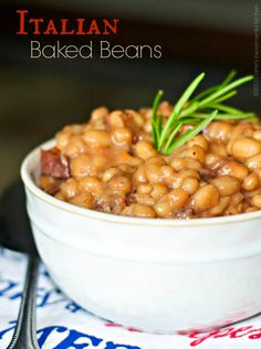 Italian Baked Beans by Carrie's Experimental Kitchen Bacon Recipes, Dog Food Recipes, Vegetarian Recipes, Cooking Recipes, Healthy Recipes, Cooking Food, Cookbook Recipes, Kitchen Recipes, Diabetic Recipes