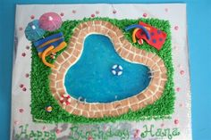 Pool Cake For a girl who had her birthday party at the pool. Made a div.Swimming Pool Cake For a girl who had her birthday party at the pool. Made a div. Pool Birthday Cakes, Pool Party Cakes, Birthday Cake Girls, 11th Birthday, Birthday Ideas, Pool Parties, Beach Cakes, Summer Cakes, Water Party