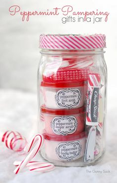 Gifts in a jar are perfect for giving homemade Christmas gifts. This Peppermint Pampering Jar is filled with items like body butter, foot soak and sugar scrub.