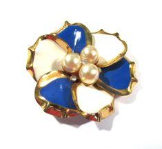 Enamel Flower Pin VINTAGE Pearls Rhinestones Enamel Pin Brooch FLOWER Enamel Flower Pin Brooch Ready to Wear Vintage Jewelry Supply (L204) by punksrus on Etsy