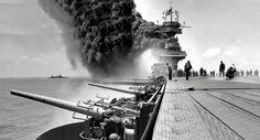 The U.S. Navy aircraft carrier USS Yorktown after being hit by Japanese attacks during the Battle of Midway, June 4, 1942.