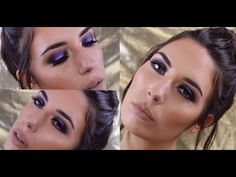 Mandy-Lee - Purple Smokey Eye Look with Dewy Skin - YouTube