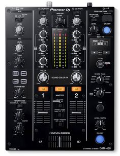 Pioneer DJM-450 2-Channel DJ Mixer With features and design inherited from the DJM-900NXS2, this 2-channel mixer is ideal to partner with any of our multiplayers or turntables. The Magvel fader combined with smooth EQ and channel fader curves give an assured feel to mixing. Sound Colour FX and Beat FX with parameter control open up new creative possibilities. And thanks to the 64-bit digital signal processer you'll enjoy warm, high-quality audio from both analogue and digital sound sources…