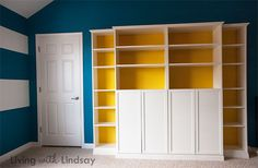 This covered an attic door, provided great storage, and upgraded the room with a very professiional look. Great job!