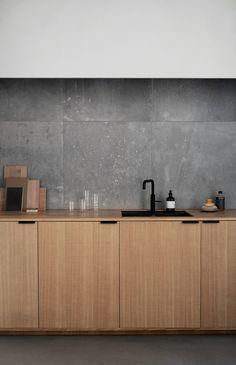 Norm Architects' Studio in Copenhagen. Their kitchen design in sawn cut natural oak. It's an IKEA hack.