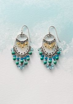 Lady Of The Sea Earrings - Scalloped and beaded sterling silver earrings drip with turquoise and apatite, below citrine's sunny glow.