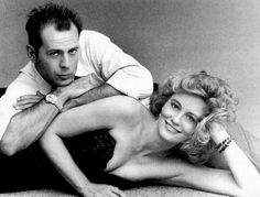Cybill Shepherd as Maddie Hayes and Bruce Willis as David Addison in Moonlighting (1985-1989)