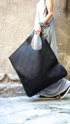 "High Quality Black Leather Tote Bag will be your "" Love of first sight "" for this season. You can combine with everything and most important wear everything as it is Large and  welcome all your ""..."