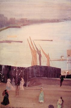 """artist-whistler:  """" Variations in Pink and Grey: Chelsea via James McNeill Whistler  Size: 62.7x40.5 cm  Medium: oil, canvas"""""""