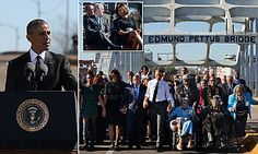Thousands of people gathered in the town of Selma, Alabama, today to hear Barack Obama, the first black US president, deliver his remarksat the iconic Edmund Pettus Bridge.