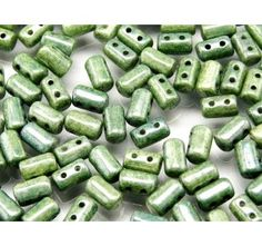 20gr Czech Glass Two-Hole Seed Beads RULLA 3x5mm CHALK GREEN LUSTER