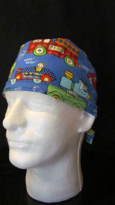 Rolling Along Teacher Pediatric Tie Back Surgical Scrub Hat Cap by TipTopLids on Etsy