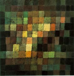 Paul Klee, Ancient Sound, Abstract on Black, 1925, Oil on cardboard, 15 x 15""