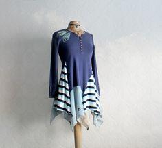 Image of Long Tunic Top Lagenlook Clothing Tattered Style Blue Kerchief Shirt Boho Eco Fashion S