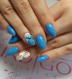 Gel brush Cookie Monster by Paula z Madeleine Studio #nails #nail #blue #cookie #monster #indigo #omg #icon