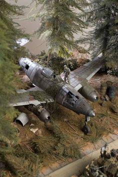 """""""Autobahn Stuttgart-München 1945"""" by Aitor Azkue. 1/32 scale German WW2 jet fighter Messerschmitt Me262 Schwalbe. #diorama #Luftwaffe https://scalaria.wordpress.com/2011/04/19/autobahn-stutgar-munchen-1945-de-aitor-azkue/"""