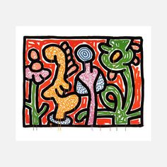 Flowers 1-5 1990, $119, now featured on Fab. [Keith Haring]