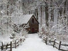 Little cabin in the snow.