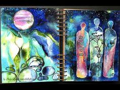 "Art Journaling Youtube Hop ""Under the Stars"" - mixed media art journal page by Sanda Reynolds www.artfulflight.com"