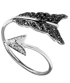Arrow statement Ring-- white gold with black diamonds by Elise Dray. Divorce Ring.