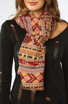 The Aztec Tomb Scarf in Red Multi by *Accessories Boutique