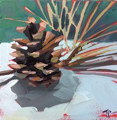 "Daily Paintworks - ""Pinecone Study Mini"" - Original Fine Art for Sale - © Teddi Parker"