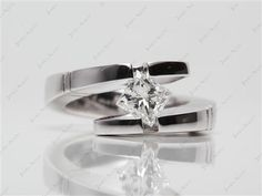 14k White Gold Pointed and Etched Tension Set Engagement Ring with Princess 0.79 Carat E VVS2 Ideal Cut Diamond.
