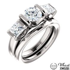 3 Stone Round and Princess Cut Half Bezel Engagement Ring with Plain Band available at Wheat Jewelers #engagementring #weddingband