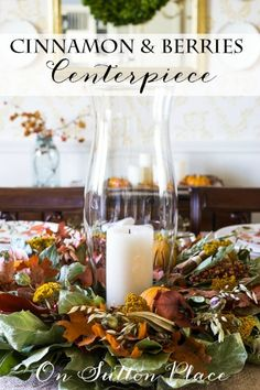 Thanksgiving Fall Tablescape Ideas | Features a Cinnamon & Berries Wreath centerpiece, burlap runner and no sew linen napkins. Links to the tutorials included!