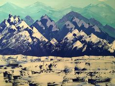 Mountains distance painting by Anna Gibbs