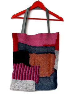 nuno felted chic tote bag red black blue pink orange by gaiagirard