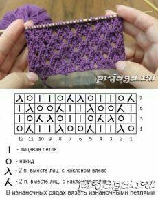 Lace Knitting Stitches, Knitting Squares, Crochet Flower Patterns, Crochet Stitches Patterns, Knitting Charts, Loom Knitting, Knitting Socks, Sweater Knitting Patterns, Baby Knitting
